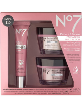 Restore & Renew Face & Neck Multi Action Anti Aging Skincare System by No7