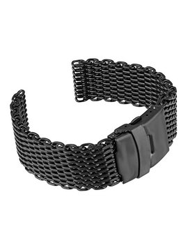 Beauty7 Black 22mm Stainless Steel Shark Mesh Wrist Watch Band Strap Replacement Double Button Fold Clasp by Beauty7