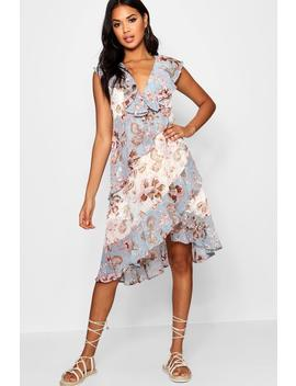 Asymmetric Ruffle Floral Midi Dress by Boohoo