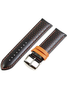 22mm Rally Perforated Smooth Black / Orange Leather Interchangeable Watch Band Strap by Clockwork Synergy, Llc
