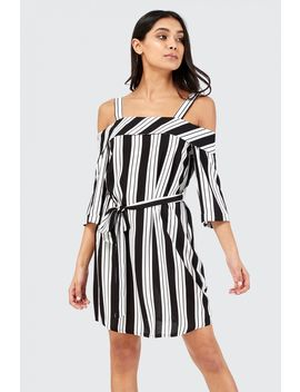 Stripe Cold Shoulder Tea Dress by Select