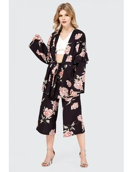 Oriental Floral Frill Sleeve Kimono by Select