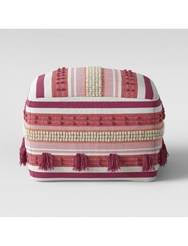 Lory Pouf Pink And Orange Textured With Tassels   Opalhouse™ by Shop All Opalhouse™