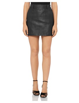 Mimi Leather Mini Skirt by Reiss
