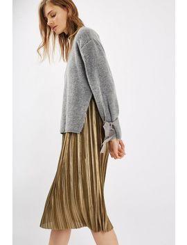 Tall Metallic Jersey Pleat Skirt by Topshop