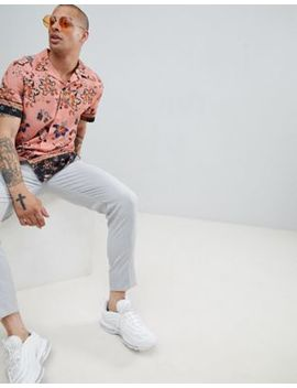 River Island Revere Shirt With Border Print In Pink by River Island