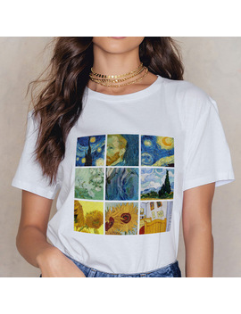 2018 Harajuku Summer Autumn Tops Van Gogh Art Oil Painting Lattice Print Casual T Shirts White O Neck Streetwear Tshirts Clothes by Zzsykd