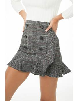Double Breasted Plaid Mini Skirt by Forever 21