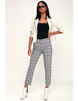 Across The Pond Black And White Plaid Side Stripe Trouser Pants by Lulu's