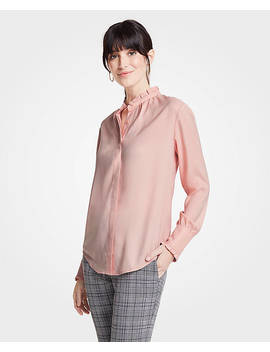 Petite Ruffle Neck Button Down Blouse by Ann Taylor