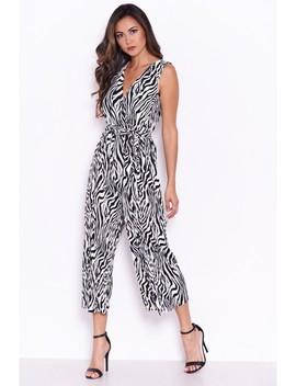 Zebra Pleated Culotte Jumpsuit by Ax Paris