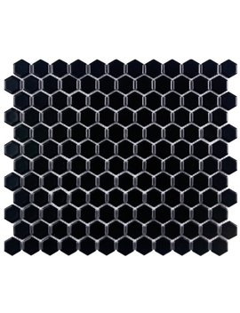 "Elite Tile Retro 1"" X 1"" Porcelain Mosaic Tile In Matte Black & Reviews by Elite Tile"