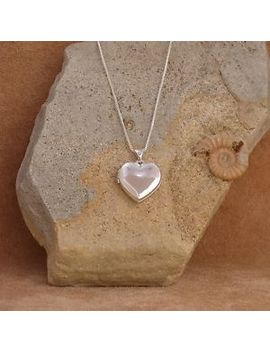 "New 925 Sterling Silver Plain Heart Locket & 19"" Box Chain by Dake Silver"