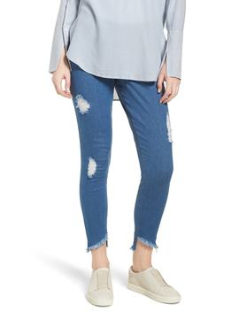 Angled Hem Denim Skimmer Leggings by Hue