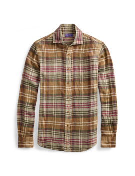 Plaid Linen Twill Shirt by Ralph Lauren