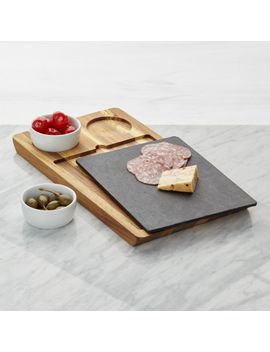 Slate And Wood Serving Board With Bowls by Crate&Barrel