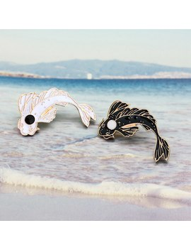 Pin & Brooch Cartoon Goldfish Pin Costume Collar Pin Animal Fish Brooch Cute Carp Animal Fish Brooch Black And White Color by Gdhy