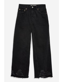 Washed Black Ladder Hem Jeans by Topshop