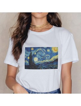 Van Gogh Starry Sky Puzzle Print T Shirt Women 2018 Summer Aesthetic Tshirt White Graphic O Neck Plus Sizes Short Sleeve Tops by Zzsykd