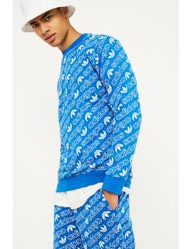 Adidas Allover Print Blue Crew Neck Sweatshirt by Adidas