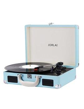 Jorlai Tocadiscos De Vinilo Recargable De 3 Velocidades Maleta Portátil Con 2 Altavoces Integrados, Soporte Vinyl To Mp3 Grabacion / Auriculares / Entrada Aux / Salida Rca (Azul) by Jorlai