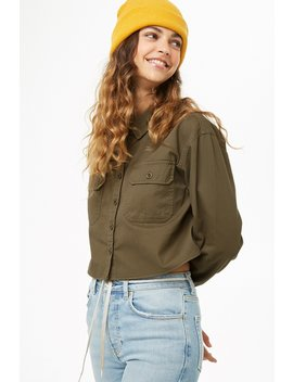 Boxy Button Front Denim Jacket by Forever 21