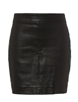 Core Black Stretch Leather Mini Skirt by Helmut Lang
