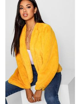 Wide Sleeve Faux Fur Coat by Boohoo