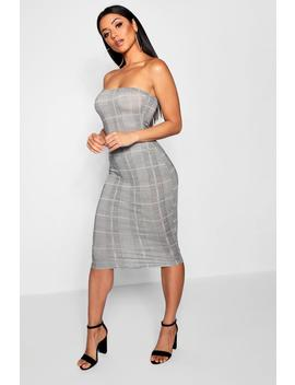 Dogtooth Check Bandeau Mini Dress by Boohoo