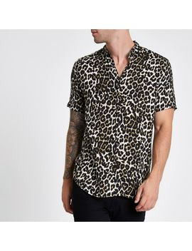 Stone Leopard Print Short Sleeve Revere Shirt by River Island
