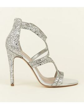 Wide Fit Silver Glitter Strappy Stiletto Sandals by New Look
