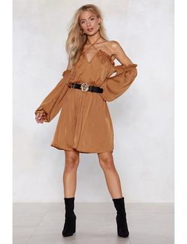 Sleeve Early Satin Dress by Nasty Gal