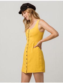 Chloe & Katie Twill Button Front Mustard Structured Dress by Chloe & Katie