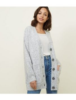 Pale Grey Oversized Cardigan by New Look