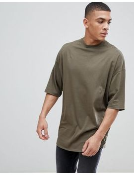 Asos Design Oversized Longline T Shirt With Deep Curve Hem In Green by Asos Design