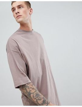 Asos Design Oversized Longline T Shirt With Deep Curve Hem In Brown by Asos Design