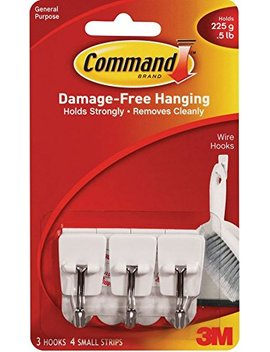 Command Wire Hooks, Small, White, 3 Hooks (17067 Es) by Command
