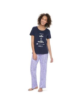 """Women's Jammies For Your Families """"I Run On Coffee And Cuddles #Momlife"""" Tee &Amp; Arrow Bottoms Pajama Set by Kohl's"""