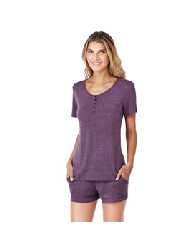Women's Cuddl Duds Pajamas: Henley Tee &Amp; Boxers Set by Kohl's