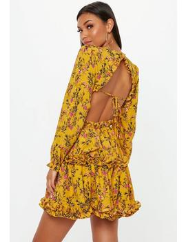 Mustard Floral Open Back Skater Dress by Missguided