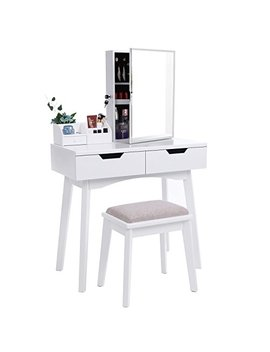 Bewishome Vanity Set With Mirror, Jewelry Cabinet / Jewelry Armoire, Makeup Organizer, Cushioned Stool, 2 Sliding Drawers White Makeup Vanity Desk Dressing Table Fst04 W by Bewishome