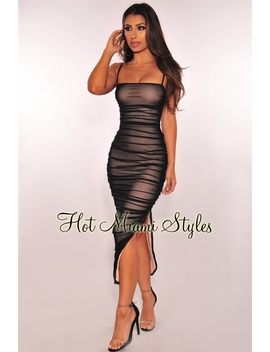 Black Nude Illusion Ruched Slit Midi Dress by Hot Miami Style