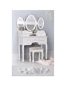 White 3 Piece Wood Make Up 3 Mirror Vanity Dresser Table And Stool Set With 7 Drawers by E Home Products