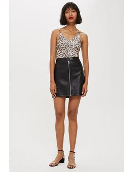 Leather Look Mini Skirt by Topshop