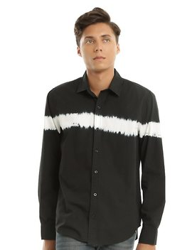 Xxx Rude Black & White Bleach Line Woven Button Up by Hot Topic