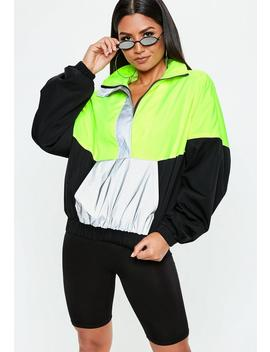 Neon Green Colour Block Reflective Windbreaker Jacket by Missguided