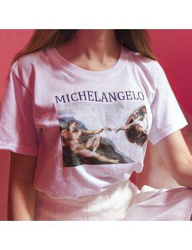 Michelangelo  Sistina Tshirt Harajuku Ulzzang Tumblr T Shirt Women T Shirt Kawaii T Shirt Femme Womens T Shirt by Zsiibo