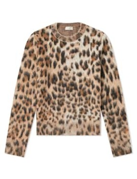 Saint Laurent Leopard Print Mohair Crew Knit by Saint Laurent