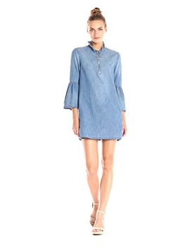 [Blanknyc] Women's Ruffle Sleeve Dress With Center Front Zip by 5 Bblanknyc5 D