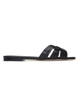 Black Nappa Tribute Sandals by Saint Laurent